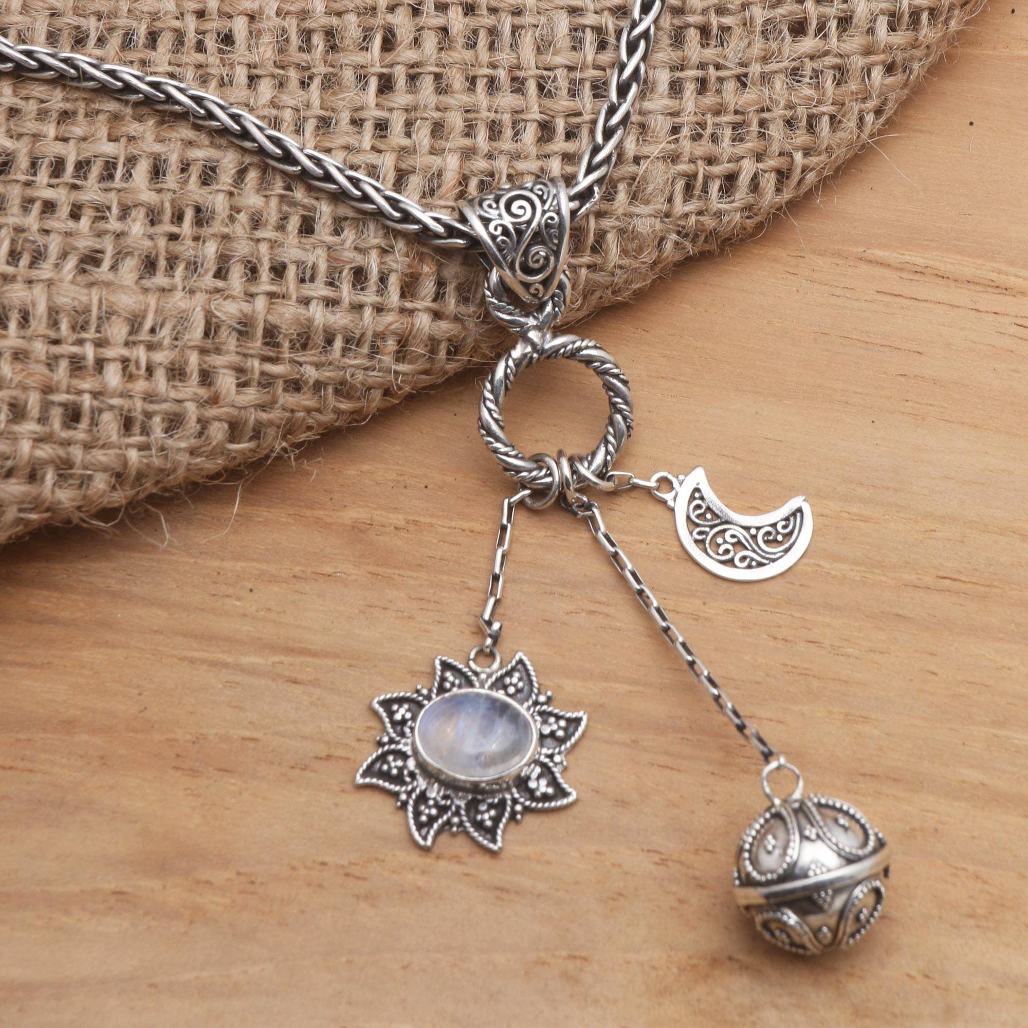 ON SALE Triple Moon Necklace with moon stones