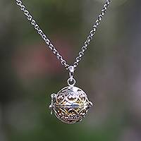 Sterling silver harmony ball necklace, 'Love Locket' - Handmade Heart Theme Silver and Brass Harmony Ball Necklace