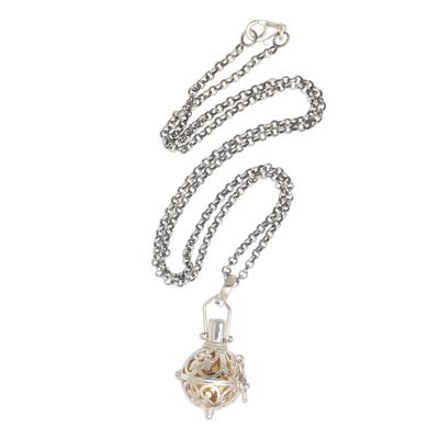 Garnet harmony ball necklace, 'Light of My Life' - Silver and Brass Harmony Ball Necklace with Garnet