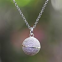 Sterling silver harmony ball necklace, 'Sweet Protection' - Balinese Silver Jawan Harmony Ball Necklace