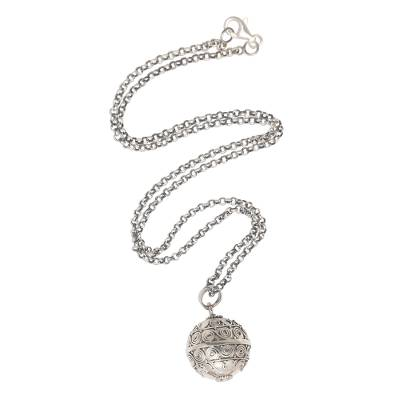 Sterling silver harmony ball necklace, 'Sweet Breeze' - Silver Balinese Harmony Ball Necklace