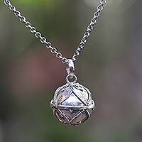 Sterling silver harmony ball necklace, 'Modern Amulet' - Contemporary Harmony Ball Sterling Silver Necklace
