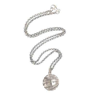 Sterling silver harmony ball necklace, 'Loving Whirlwind' - Handmade Heart Theme Sterling Silver Harmony Ball Necklace