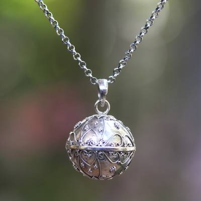 Sterling silver harmony ball necklace, 'Message of Love' - Balinese Silver Heart Motif Amulet Harmony Ball Necklace