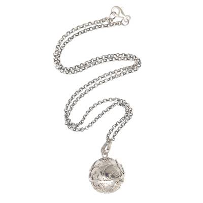 Sterling silver harmony ball necklace, 'Patient Love' - Balinese Silver Amulet Harmony Ball Necklace