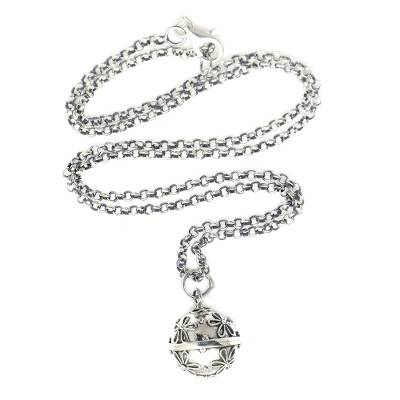 Sterling silver harmony ball necklace, 'Delighted Daisies' - Sterling Silver Daisy Theme Harmony Ball Necklace (18 in)