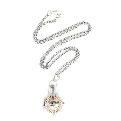 Moonstone harmony ball necklace, 'Protective Goddess' - Silver and Moonstone Harmony Ball Necklace with Brass