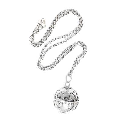 Sterling silver harmony ball necklace, 'Love Chime' - Handmade Heart Theme Sterling Silver Harmony Ball Necklace