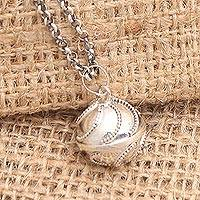 Sterling silver harmony ball necklace, 'Jawan Embrace' - Modern Balinese Silver Sterling Harmony Ball Necklace