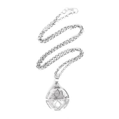 Sterling silver harmony ball necklace, 'Leaves of Life' - Balinese Silver Harmony Ball Necklace with Leaf Motifs