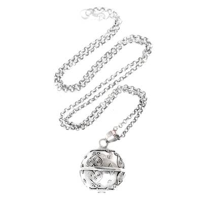 Sterling silver harmony ball necklace, 'Forever Love' - Balinese Handcrafted Harmony Ball Heart Necklace in Silver