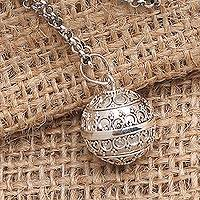 Sterling silver harmony ball necklace, 'Angel Amulet' - Balinese 28 Inch Sterling Silver Harmony Ball Necklace