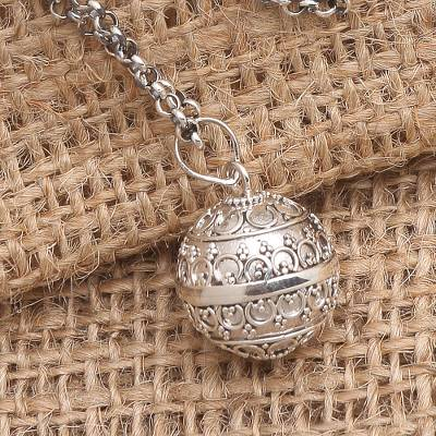 Sterling silver harmony ball necklace, 'Angel Amulet' - Balinese Sterling Silver Harmony Ball Necklace