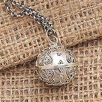 Sterling silver harmony ball necklace, 'Heart of the Angels' - Heart Theme Amulet Sterling Silver Harmony Ball Necklace