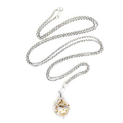 Amethyst harmony ball necklace, 'Angelic Guardian' - Silver and Amethyst Harmony Ball Necklace with Brass