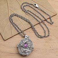 Amethyst locket pendant necklace, 'Romantically Inclined' - Amethyst Locket Necklace on Cable Chain