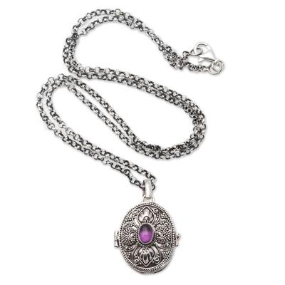 Amethyst locket pendant necklace, 'Romantically Inclined' - Amethyst Locket Necklace on Cable Chain