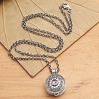 Amethyst locket pendant necklace, 'Gianyar Grace'