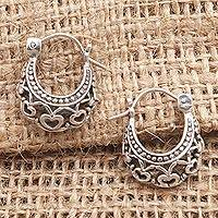 Sterling silver hoop earrings, 'Romantic Mood'