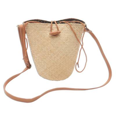 Handwoven Beige Rattan Sling Bag with Brown Leather Trim