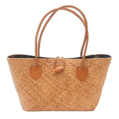 Handwoven Rattan Handbag with Brown Leather Accents