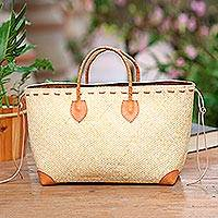 Leather accent rattan handle handbag, 'Summery Style' - Brown Leather Accents Handwoven Rattan Handbag
