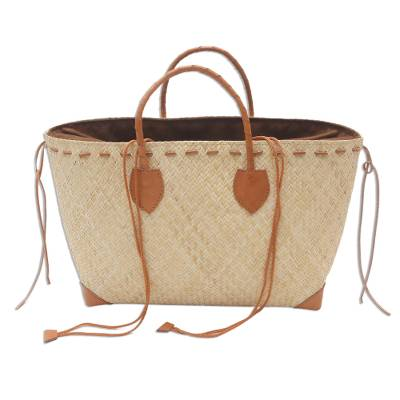 Brown Leather Accents Handwoven Rattan Handbag
