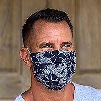 Cotton face masks 'Island Breeze' (set of 3) - 3 Single Layer Navy & Cotton Print Elastic Loop Face Masks