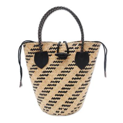 Batik Lined Rattan Handbag from Bali