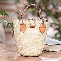 Leather-accented rattan handbag, 'Sunda Simplicity' - Natural Rattan Handbag with Tan Leather Trim