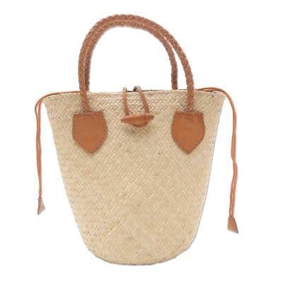 Natural Rattan Handbag with Tan Leather Trim