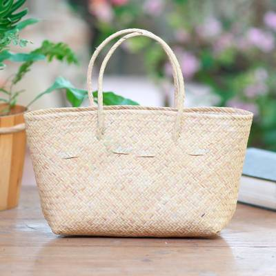 Small rattan tote bag, 'Sunda Serendipity' - Unlined Small Rattan Tote Handbag
