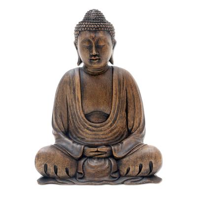 Balinese Wood Buddha in Meditation Sculpture
