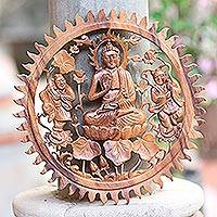 Wood relief panel, 'Buddha Vitarka Mudra' - Round Carved Wood Relief Panel of Buddha