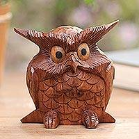 Wood statuette, 'Clever Owl' - Wood Owl Statuette from Bali