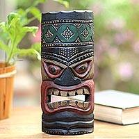 Wood mask, 'Papua Pride I' - Papua Style Hand Carved Wood Mask