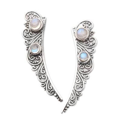 Rainbow Moonstone Ear Climber Style Earrings