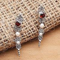 Garnet ear climber earrings, 'Crimson Penjor' - Garnet and Sterling Silver Ear Climber Earrings