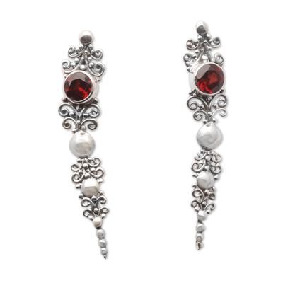 Garnet and Sterling Silver Ear Climber Earrings