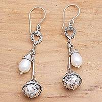 Cultured pearl harmony ball dangle earrings, 'Angel Chimes' - Sterling Silver and Cultured Pearl Harmony Ball Earrings