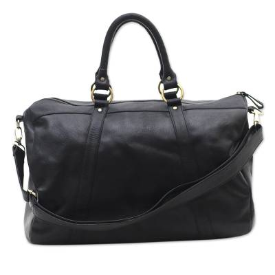 Black Leather Travel Bag with Zipper from Indonesia