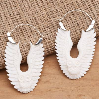 Bone and sterling silver hoop earrings, 'Owl Aloft' - Hand Carved Bone Owl Earrings from Bali