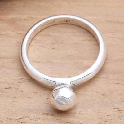 Sterling silver ring, 'Singular Idea' - Sterling Silver Bauble Ring from Bali Artisan