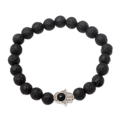 Hamsa Hand Lava Stone Stretch Bracelet with Onyx