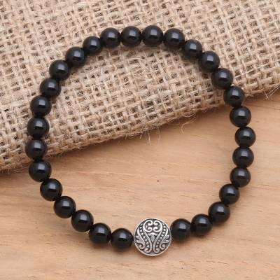 Onyx and sterling silver beaded stretch bracelet, 'Ornate Medallion in Black' - Hand Crafted Onyx Stretch Bracelet with Silver Pendant