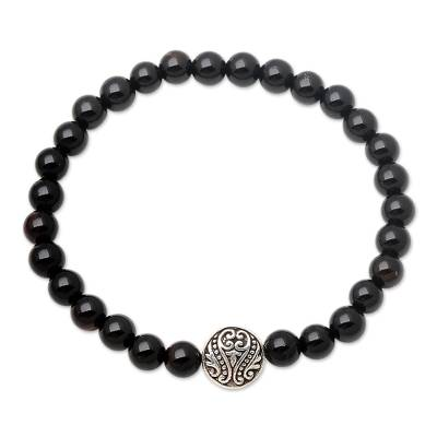 Hand Crafted Onyx Stretch Bracelet with Silver Pendant