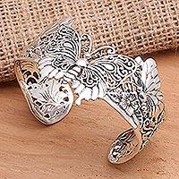 Sterling silver cuff bracelet, 'Butterfly Brilliance' - Sterling Silver Butterfly Motif Cuff Bracelet