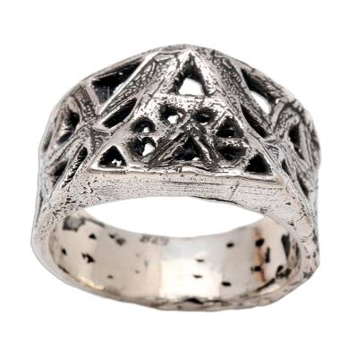 Men's sterling silver ring, 'Ancient Symbol' - Textured and Oxidized Men's Sterling Silver Ring