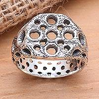 Men's sterling silver ring, 'Ancient Honeycomb' - Honeycomb-Like Sterling Silver Ring for Men