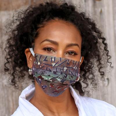 Rayon batik face masks, 'Batik Mystique' (pair) - 1 Russet/1 Turquoise Hand Stamped Rayon Batik Face Masks